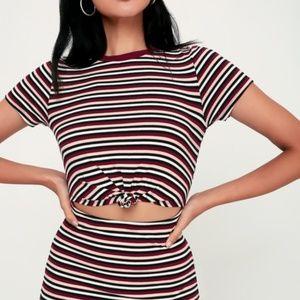 NWT Lulu's Mellie Burgundy Front Cutout Dress